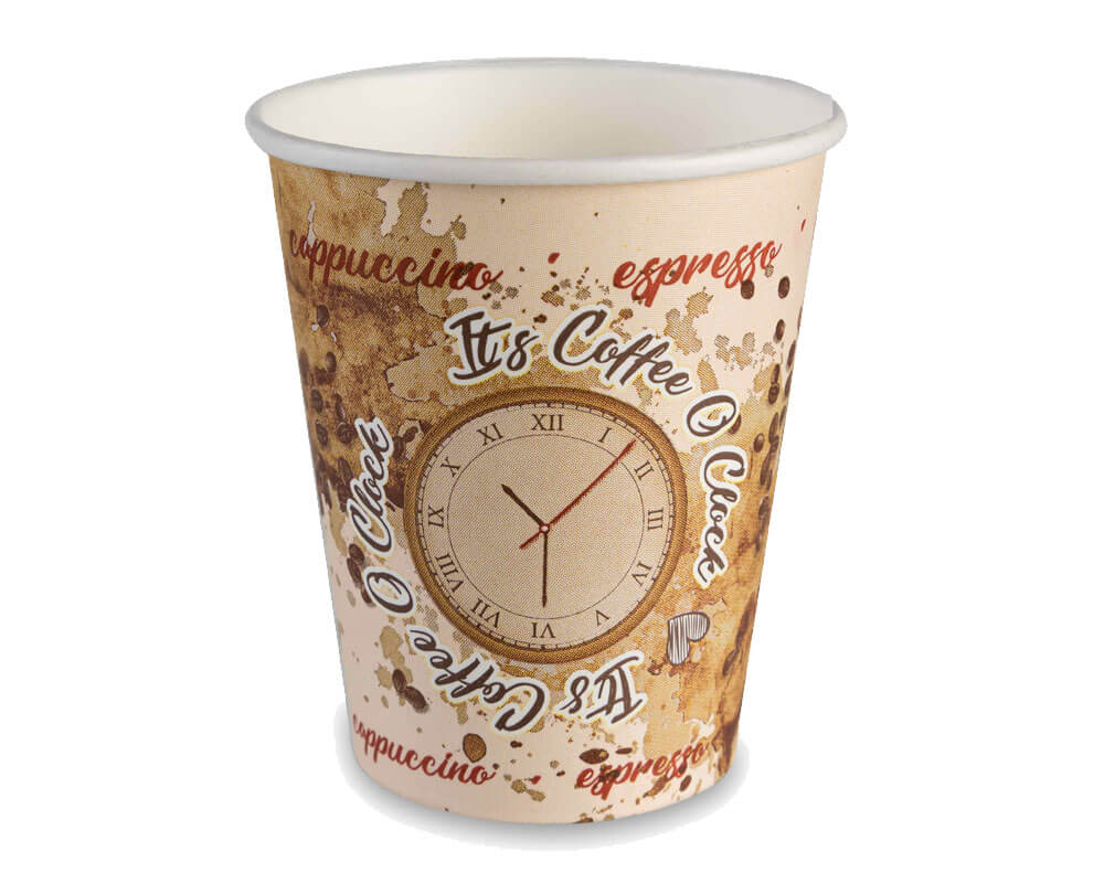250ml Single wall Coffee o'clock cup (packed 500)