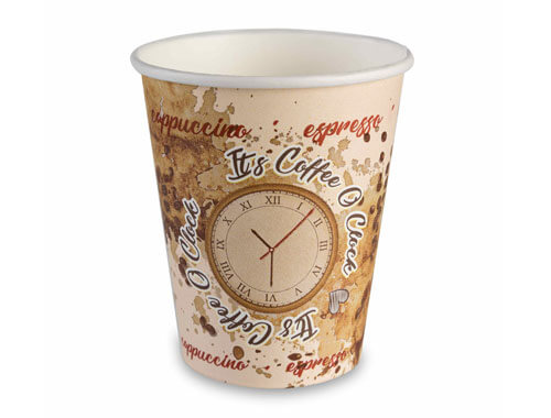 8oz Single wall Coffee o'clock cup